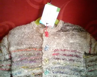 Hand knitted Cardigan, knitted in home spun wool to fit a baby boy aged 3-6 months old