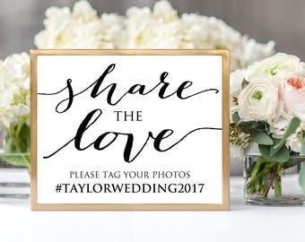 Share the Love Sign, Wedding Sign, DIY Hashtag Sign Printable, Wedding Reception Sign, Hashtag Printable Template, Instagram Hashtag Wedding