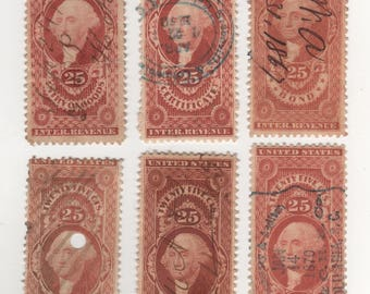 25 cents Set of 6, Revenue 1862-71 (Scott's R43c+) Stamps, Used