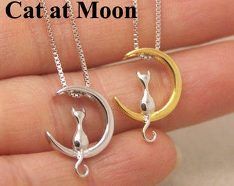 Silver Cat Necklace, Cat On The Moon Necklace, Kitten Necklace, Kitty Necklace, Moon Necklace, Cat Jewelry, Minimalist Necklace NA510