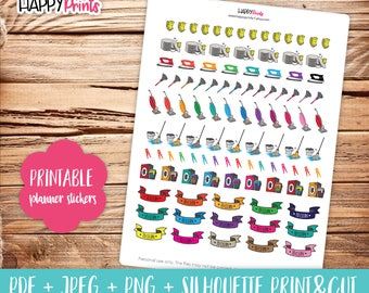 Cleaning Kit Printable Planner Stickers.