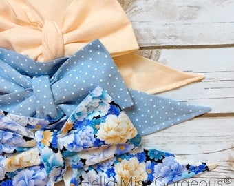 Gorgeous Wrap Trio (3 Gorgeous Wraps)- Light Peach, Chambray Sugar & Peach Garden Gorgeous Wraps; headwraps; fabric head wraps; headbands