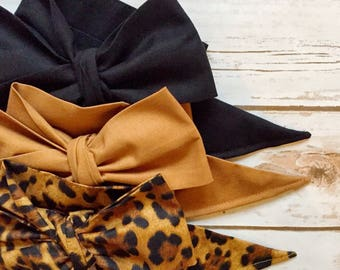 Gorgeous Wrap Trio (3 Gorgeous Wraps)- Noir, Toffee & Lulu Leopard Gorgeous Wraps; headwraps; fabric head wraps; bows