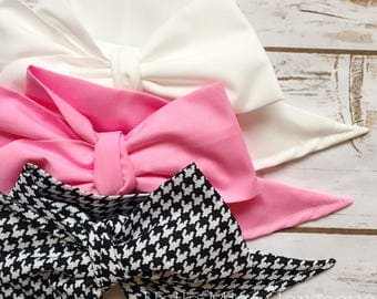 Gorgeous Wrap Trio (3 Gorgeous Wraps)- Blanc, Petal Pink & Noir Houndstooth Gorgeous Wraps; headwraps; fabric head wraps; bows