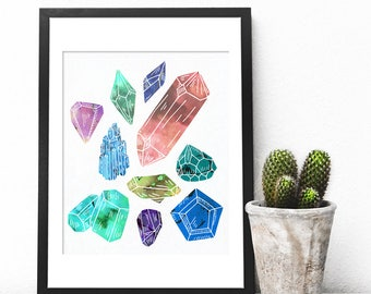 Gemstone Wall Art, Gem Art, Gem Painting, Gemstone Poster, Watercolor Gem Print, FemInIne Art, Geometric Print, Quartz, Gift, Nature Gifts