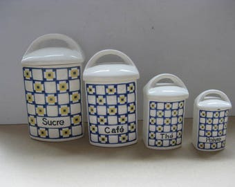 Vintage French Set of 4 Kitchen Jars, Storage Containers.