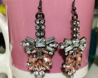 Crystal Earrings, Bib Statement Earrings, Sparkly Earrings, Valentine's Day Gift,  Statement Earrings, Fancy Earrings