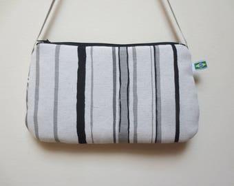 Black and grey striped clutch spring purse - bag - shoulder