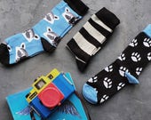 Raton laveur ensemble de chaussettes pour hommes et femmes, Stripe chaussettes, chaussettes de patte pour animaux de compagnie, chaussettes pour lui, chaussettes pour papa, chaussettes pour le marié