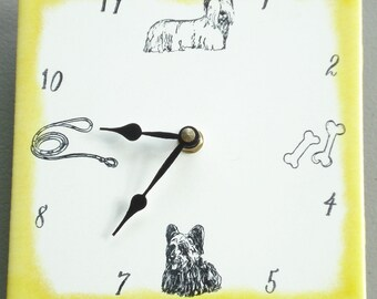 "Ceramic tile Skye Terrier dog clock, 6"" square, yellow border"