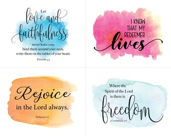 Printable Encouragement Card, Watercolor Bible Verse Encouragement Card, Scripture Verse Memory, Inspirational Card, Christian Printable