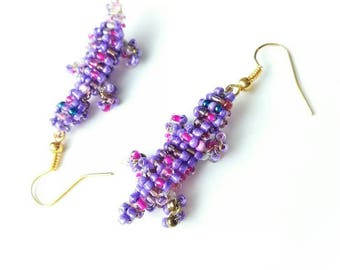 Purple lizard beaded earrings animal seed beads beadwork unique boho gift for her for Mom exclusive designer purple pink jewelry earring