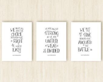 Harry Potter Gifts for Her * Albus Dumbledore Quotes Set of 3 Prints * Inspirational Black and White Wall Artwork Typographical Prints 1300