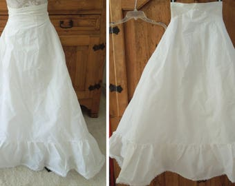 Vintage White Tulle Lined Nylon Long Maxi Petticoat Half Slip by Arlauret Zipper Bridal Prom Size Small