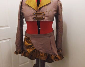 Steampunk Coat and Bustle, Steampunk Jacket and Skirt, Cropped Jacket and Bustle, Steampunk Cropped Jacket, Steampunk Cropped Coat