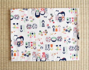 cute adoreable little japanese dolls Fabric 1/2 yard