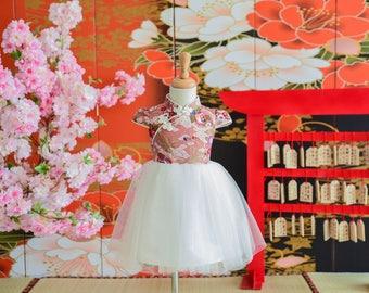 girl cheongsam style tutu dress handmade pink/white
