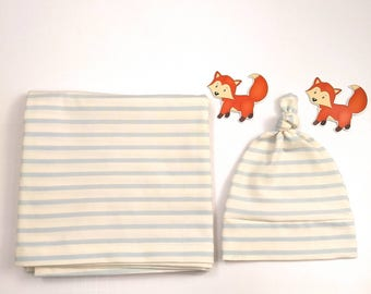 Blue stripes baby boy new arrival blanket, bow and hat, Gift for baby, designer stretch cotton, Finished with coverhem // Blue Collection