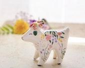 Hippie flower goat, ceramic goat totem, animal totem, ceramic goat, boho art, spirit animal, clay goat, hippie art