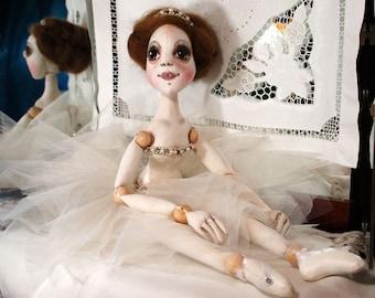 Master Class Teaching of dolls creating. Textile hinged doll. Handmade doll. Doll-ballerina