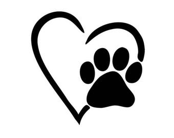 Heart with Paw Decal!