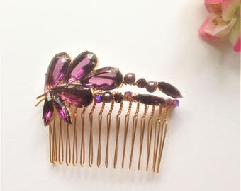Vintage Hair Comb, 1940's Brooch, Purple Brooch, Vintage Wedding, Bridal, Mother of the Bride, Swarovski Crystals, Swarovski Pearls