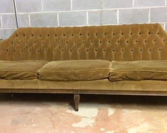 Shabby Cottage Chic Fancy Golden Brown Velvet Tufted Settee French Vintage  Sofa