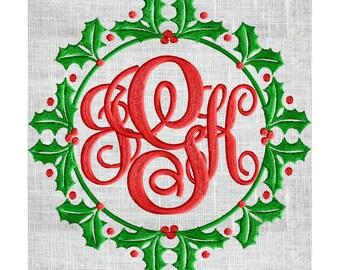 Holly Font Frame Monogram Embroidery Design - Font not included - Instant download - Dst Exp Vp3 Jef Pes Hus - 2 sizes
