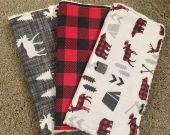 Woodland burp cloths / deer moose and bears / red and black plaid / woodland nursery / canadian baby gift / woodland baby shower gift