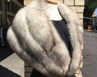 Vintage Norwegian Blue fox~ shrug~ capelet~ wrap~ silver white fur stole~ large and fluffy~ supple luxurious ~Saga Fur