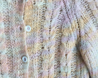 60's Italian Mohair cardigan~ soft pastel colors~ XSmall Small