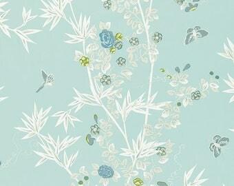 SCALAMANDRE CHINOISERIE BUTTERFLIES Cotton Toile  Fabric 10 Yards Ciel Multi