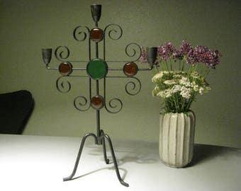 Candlestick Gunnar Ander Ystad Metall Kosta Boda glass. Candleholder / Kandelabre Made in Sweden.