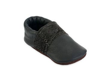 Black Leather baby shoes / Toddler Boy Girl Moccasins / Eco-friendly Funky Recycled Leather gift