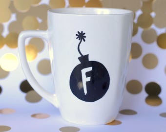 F bomb mug - witty, clever, snarky mug for not so morning people