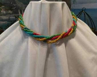 Colorful Multi strand Beaded Necklace - Beachy- Fun- Toggle- Fringe