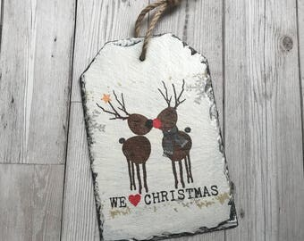 Christmas Decoration, Reindeer Decoration, Home Decor, Wall Art, Slate