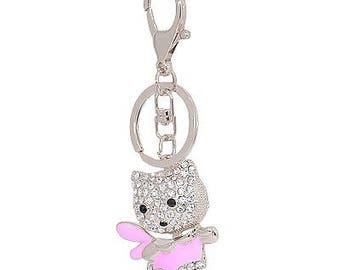 "Fancy - bag charm key ""winged cat pink dress"""