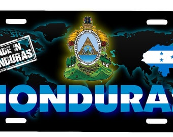 "Honduras Aluminum License Plate Placa  6"" x 12"""