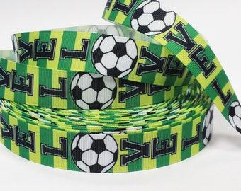 "7/8"" inch LOVE SOCCER Green Yellow Brasil Brazil Colors Sports Printed Grosgrain Ribbon for Hair Bow - Original Design"