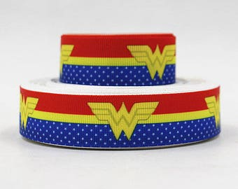 7/8 inch  Red and Blue Superhero  - Super hero - Super heroes - Printed Grosgrain Ribbon for Hair Bow