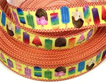 """7/8 inch Ice Cream Pops Popcicles  Colorful Printed Grosgrain Ribbon Hair Bow - 7/8"""""""