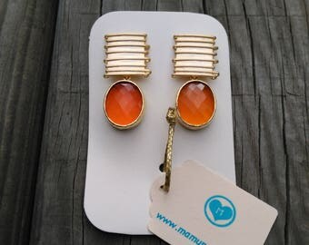 Matte gold earrings with orange faceted crystal
