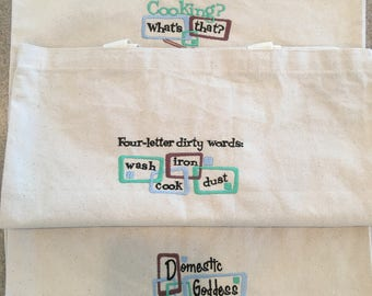 3 Reusible Grocery/Market Bags with Machine Embroidered Designs