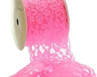 "2.25"" Stretch Elastic Lace Trim - Hot Pink - Choose Length"