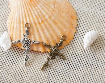 Rose cross charm pendant,24x35mm Pendant, Antique Bronze Supplies,Antique Silver SuppliesDIY Supplies