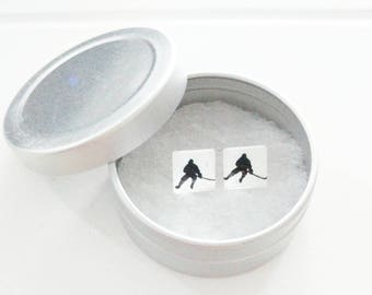 Nail and chip - stainless steel Studs - glass square 10 mm - hockey earring - handpainted - hypoallergenic / Hockey jewelry