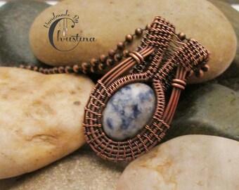 Oxidized Copper Wire Woven & Sodalite Pendant