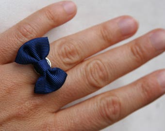Navy blue bow Adjustable ring
