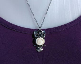 OWL necklace with eye of Saint Lucia